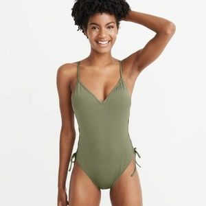 Olive green Lace up one piece bathing suit
